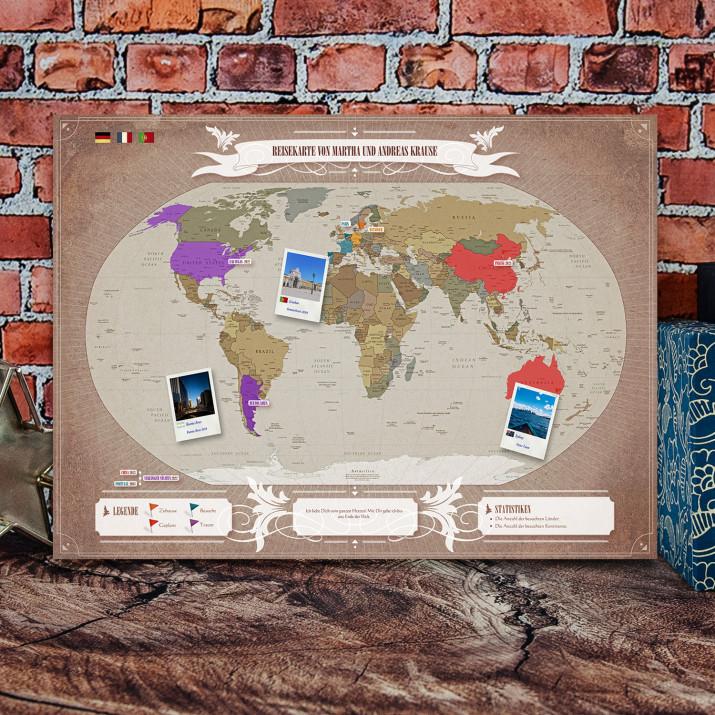 Personalisierte Reisekarte: Welt