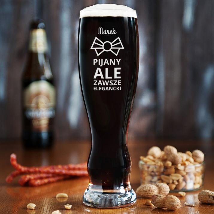 Pijany, ale elegancki - Grawerowana Szklanka do piwa