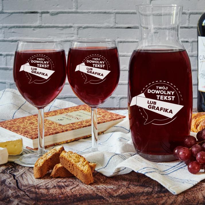 Projekt własny - Zestaw grawerowana karafka i dwa kieliszki do wina
