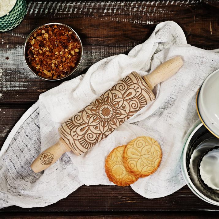 Rangoli - MINI grawerowany wałek do ciasta