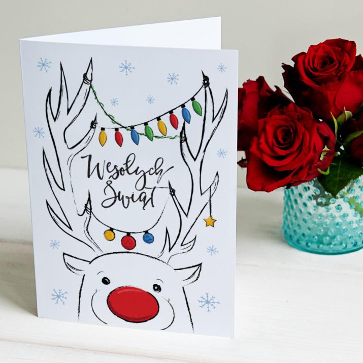 Rysunkowy renifer - kartka z życzeniami