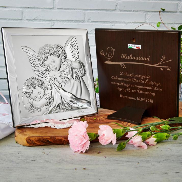 Sakrament Chrztu - Aniołek z latarenką - Srebrny Obrazek z Grawerem