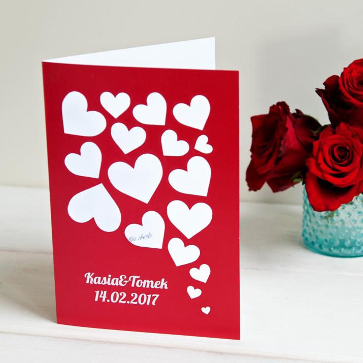 Serca - kartka z życzeniami