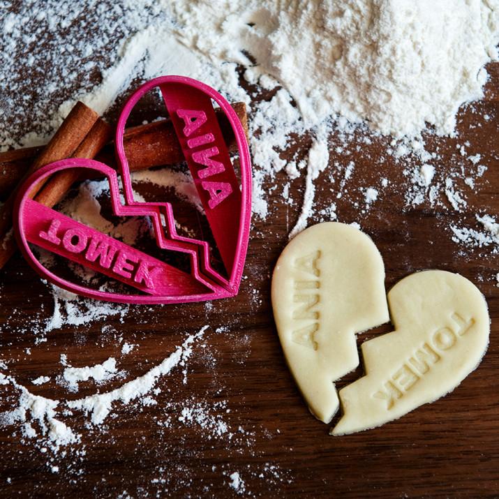 Serce dla Dwojga - zestaw dwóch foremek 3D do ciastek