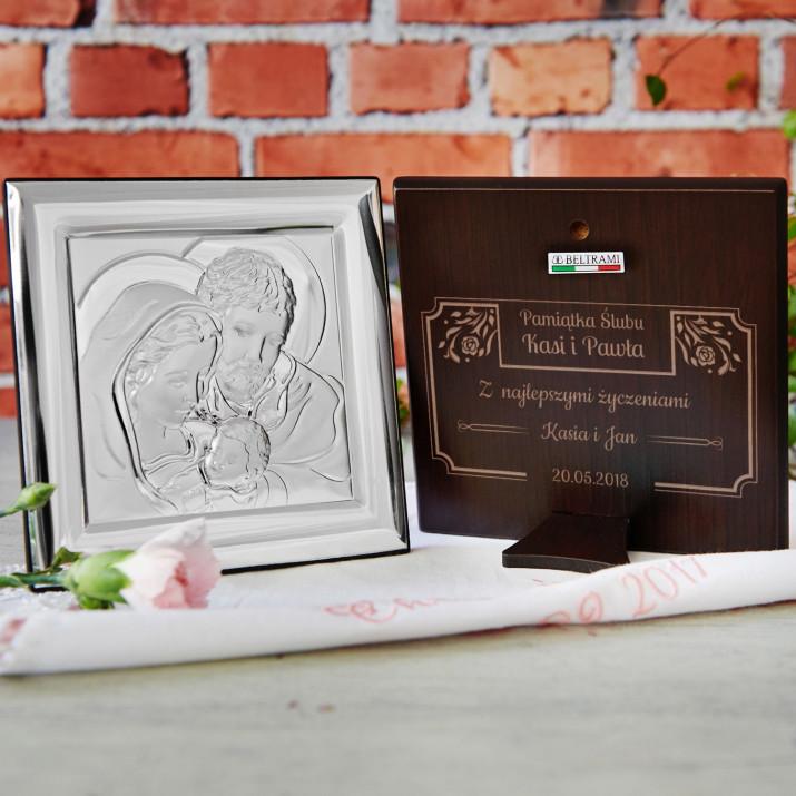Ślub - Św. Rodzina - Kwadrat - Srebrny Obrazek z Grawerem