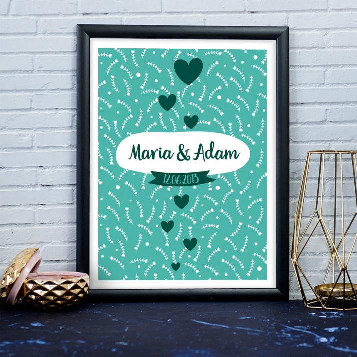 Hochzeit - Kunstdruck mit Rahmen