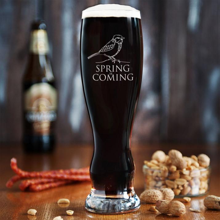 Spring is Coming - Grawerowana Szklanka do piwa