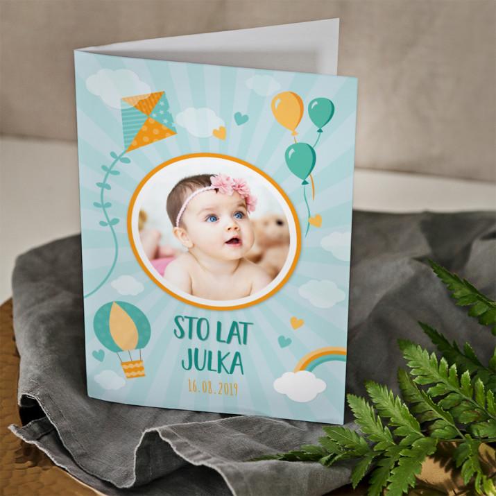 Sto lat dziecięca - kartka składana z życzeniami