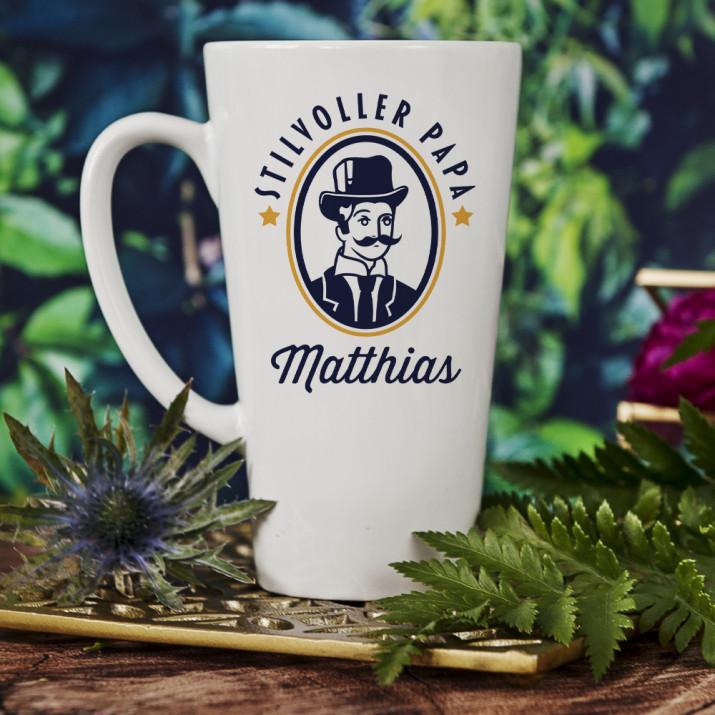 Stilvoller Papa - personalisierte Tasse