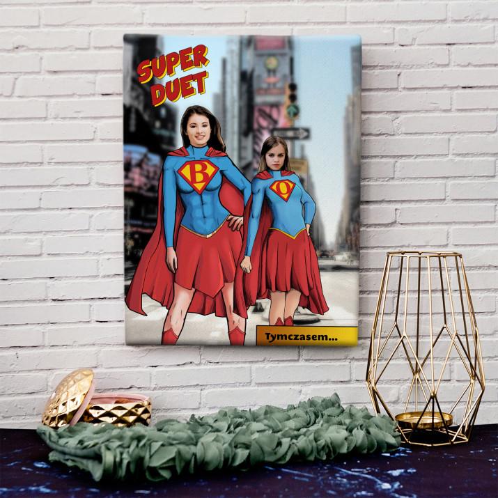 Super Mama i Córka - obraz na płótnie