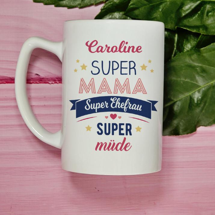 Super Mama, Super Ehefrau - personalisierte Tasse