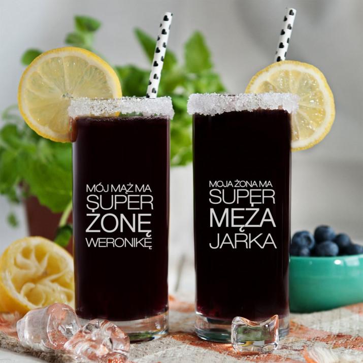Super mąż i żona - Dwie grawerowane szklanki