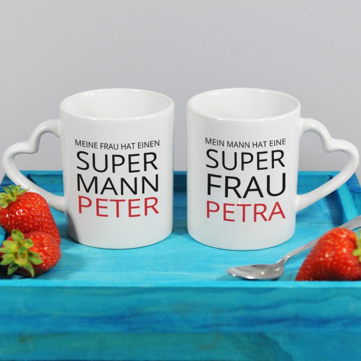 Super Mann und Super Frau - Becher für Paare