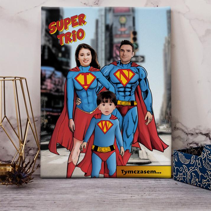 Super Rodzice i Dziecko - obraz na płótnie