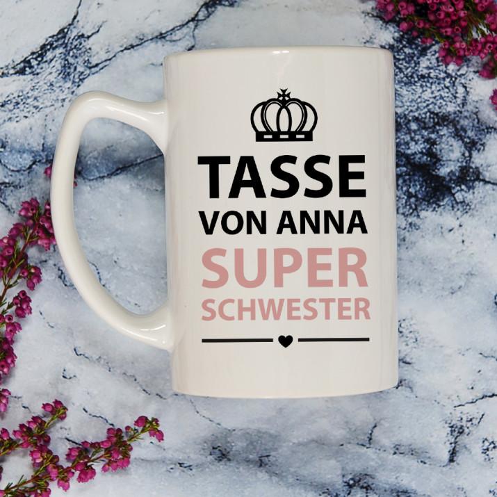 Super Schwester - Personalisierte Tasse