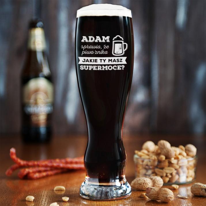 Supermoce - Grawerowana Szklanka do piwa