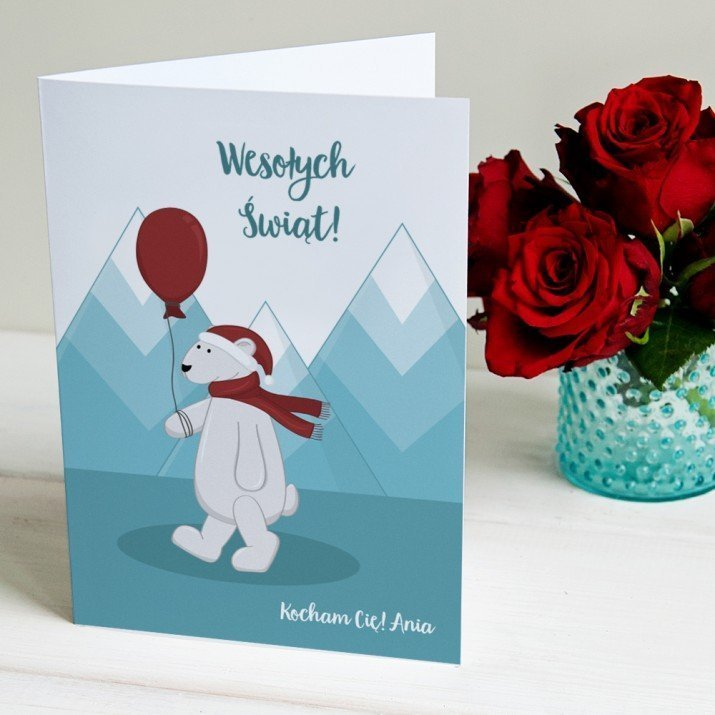 Świąteczny Miś - kartka z życzeniami