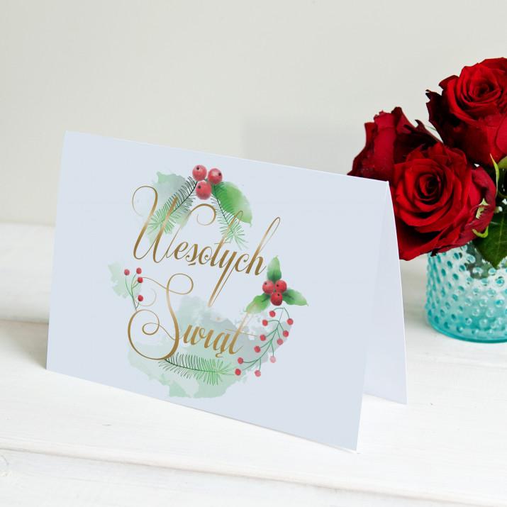 Święta watercolor - kartka z życzeniami