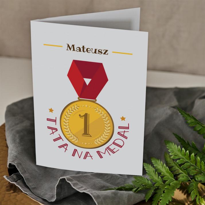 Tata na medal - kartka  z życzeniami