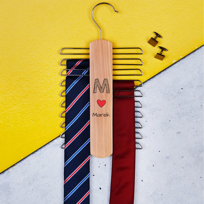 Twoje imię - Wieszak na krawaty