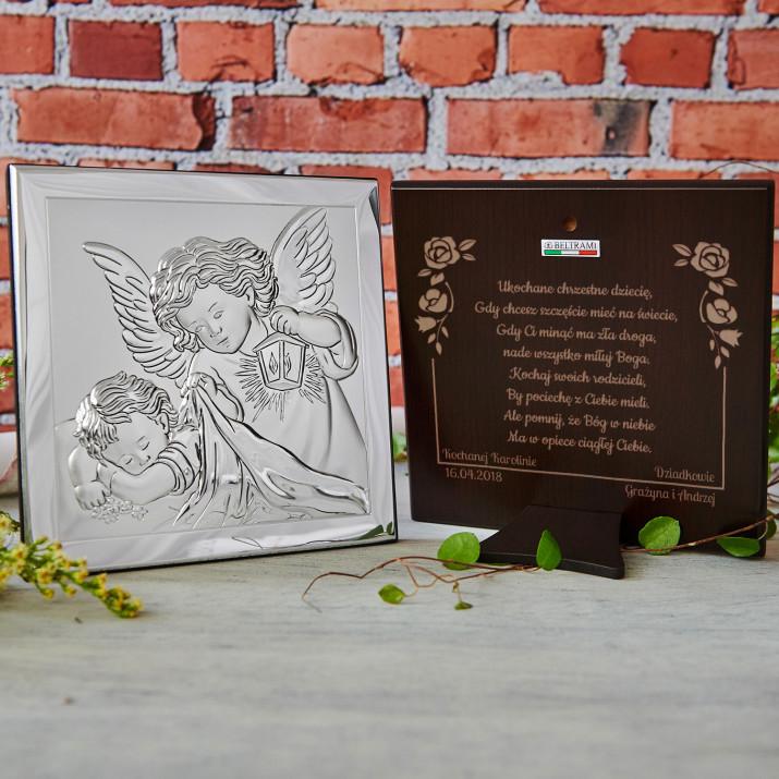 Ukochane Chrzestne Dziecię - Aniołek z latarenką - Srebrny Obrazek z Grawerem