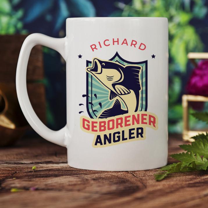 Geborener Angler - personalisierte Tasse