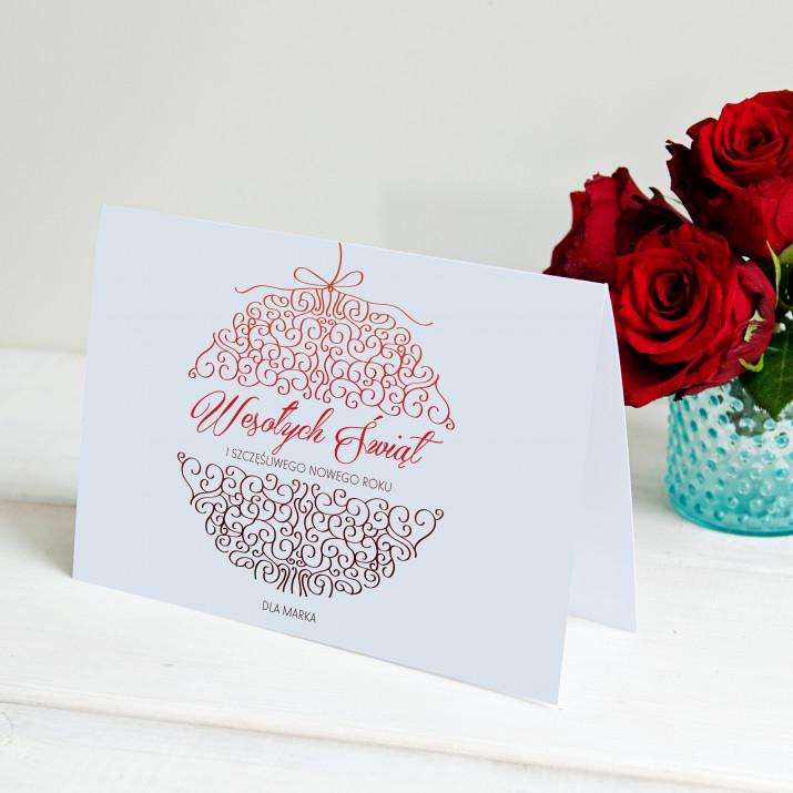 Wesołych Świąt bombka - kartka z życzeniami