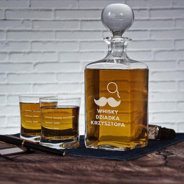 Whisky Dziadka - Zestaw Grawerowana Karafka I Szklanki Do Whisky
