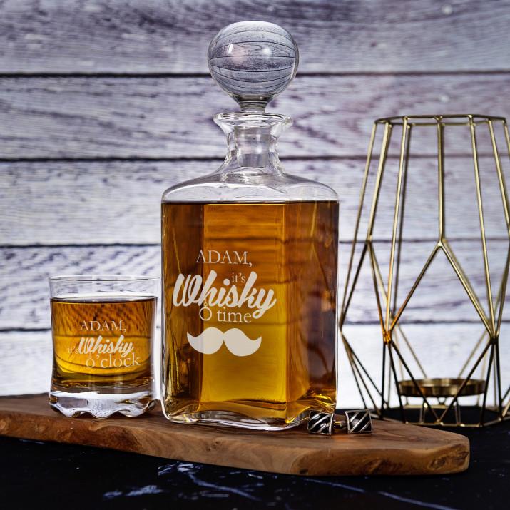 Whisky Time - Zestaw Grawerowana Karafka I Szklanki Do Whisky