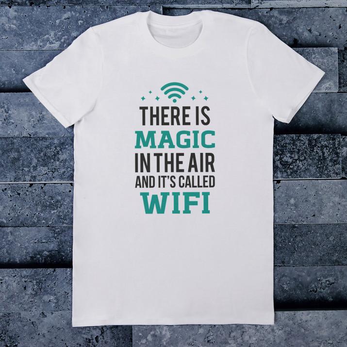 WIFI - Koszulka męska z nadrukiem