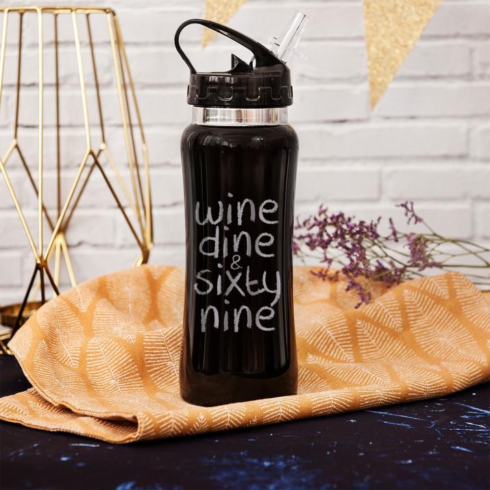 Wine dine & sixty nine - bidon z grawerem