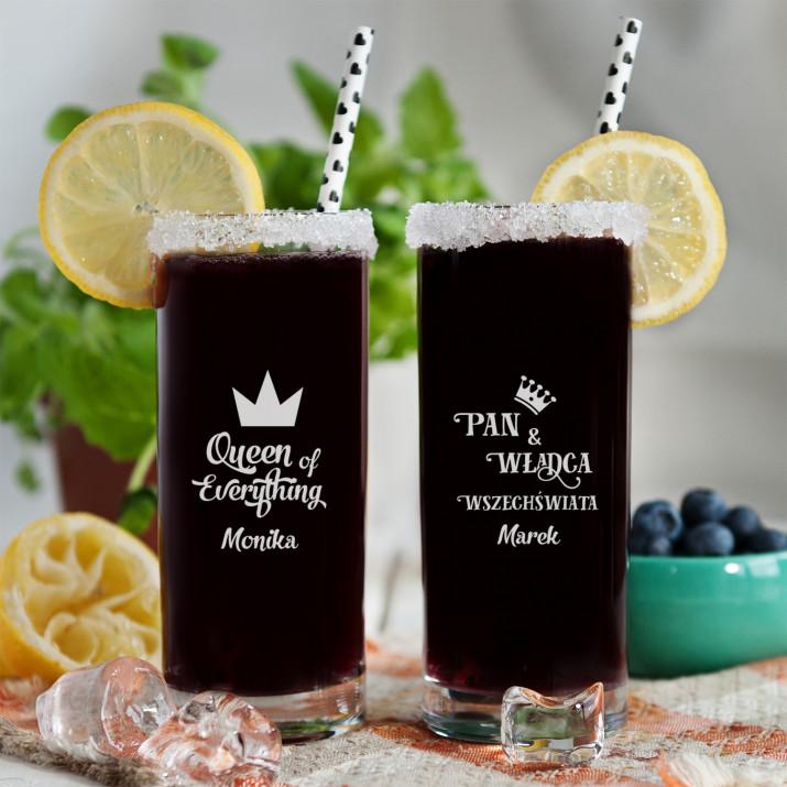 Władca i Królowa - Dwie grawerowane szklanki