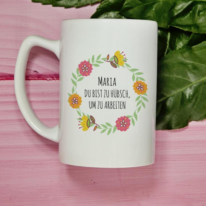 Zu hübsch - Personalisierte Tasse