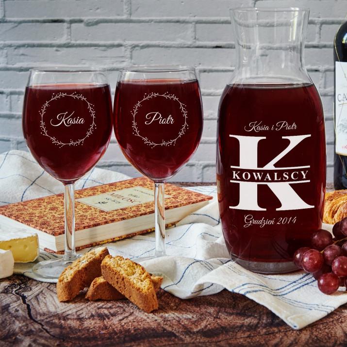 Zakochani - Zestaw grawerowana karafka i dwa kieliszki do wina
