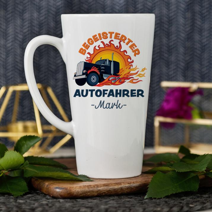 Begeisterter Autofahrer - personalisierte Tasse