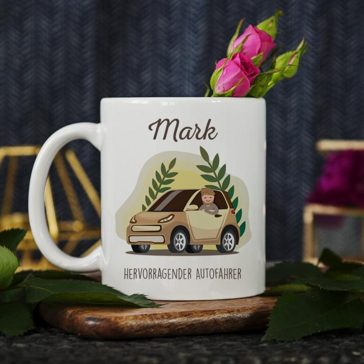 Hervorragender Autofahrer - personalisierte Tasse