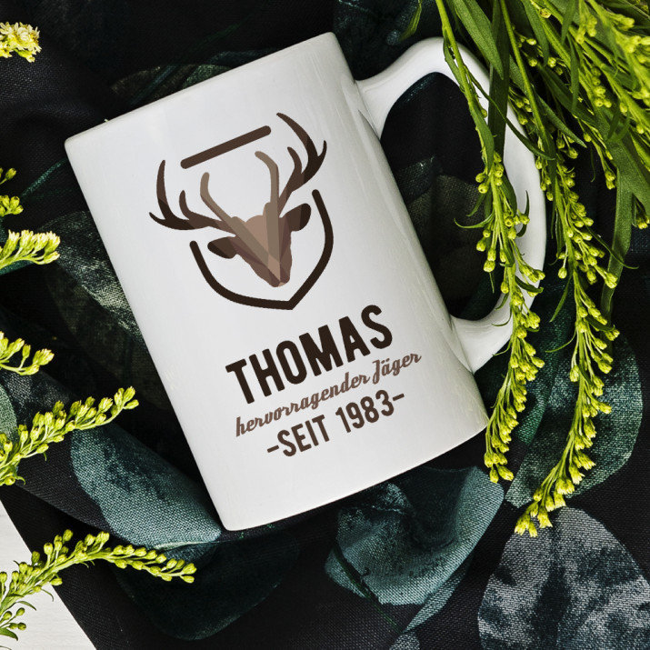 Hervorragender Jäger - personalisierte Tasse