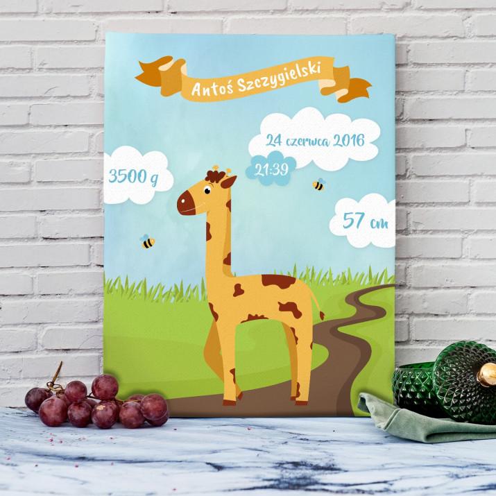 Żyrafa - Metryczka urodzenia na płótnie