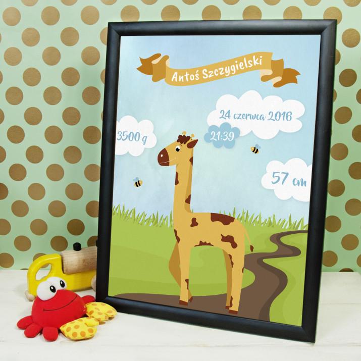 Żyrafa - metryczka urodzenia wydruk obramowany