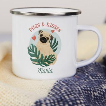 Pugs&Kisses - emaillierter Becher