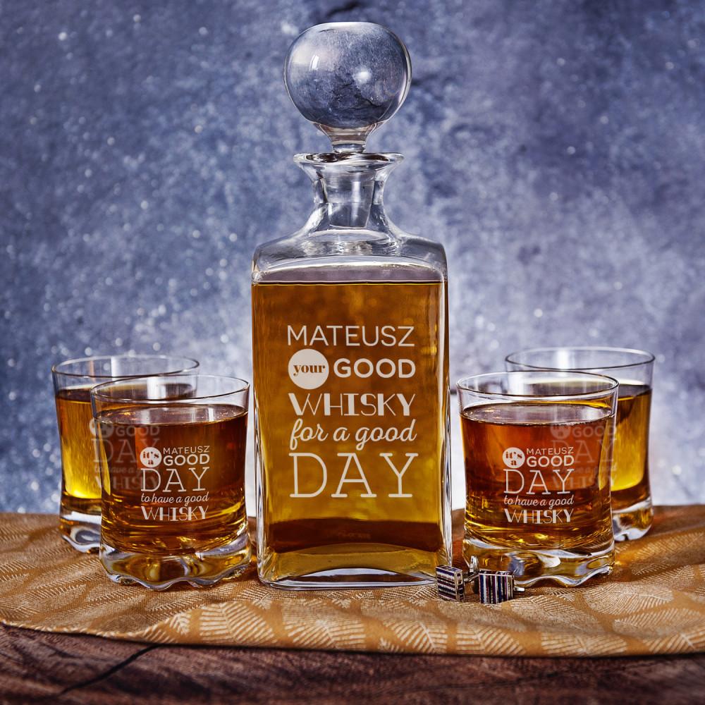 Good Day - Zestaw Grawerowana Karafka I Szklanki Do Whisky