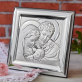Pamiątka Chrztu - Św. Rodzina - Kwadrat - Srebrny Obrazek z Grawerem